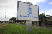 A general view of the entrance and exterior of the European Spaceport on May 2 2011 in Kourou French Guiana Ariane 5 launched on May 1 2011 from the...