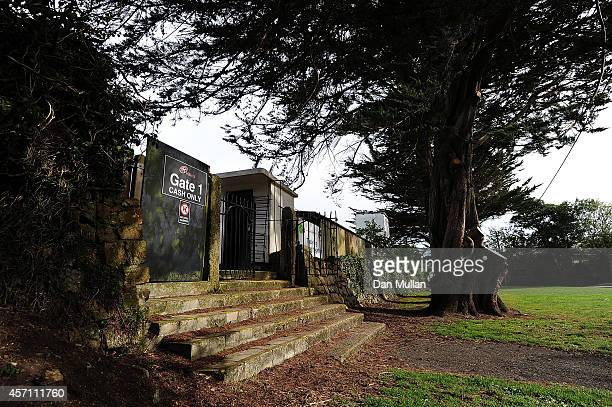 A general view of the entrance gate to the Mennaye Field during the British Irish Cup match between Cornish Pirates and Bedford Blues at Mennaye...