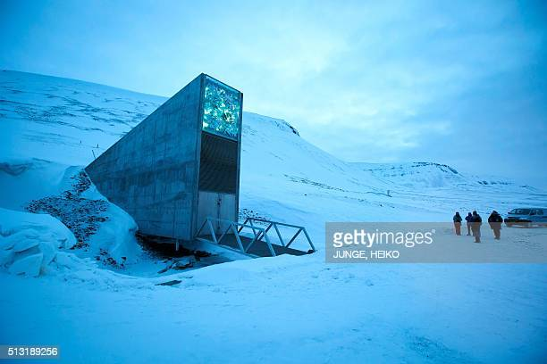 A general view of the entrance of the international gene bank Svalbard Global Seed Vault outside Longyearbyen on Spitsbergen Norway on February 29...