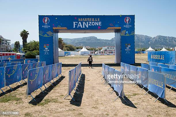 General view of the entrance of the UEFA EURO 2016 Fan Zone in front of the Mediterranean sea on June 9 2016 in Marseille France