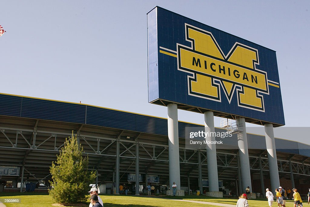 General view of the entrance to Michigan Stadium prior to the game between the Michigan Wolverines and the Houston Cougars on September 6 2003 in Ann...
