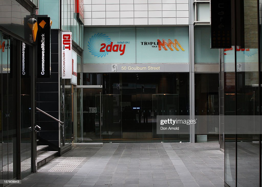 A general view of the entrance to the 2dayFm offices in Goulburn Street on December 8, 2012 in Sydney, Australia. 2dayFM Radio Presenters Mel Greig and Michael Christian have been taken off air following the suicide of royal nurse Jacintha Saldanha. Nurse Saldana took a prank call from the presenters while working at the King Edward VII Hospital where Catherine, Duchess of Cambridge was receiving treatment.