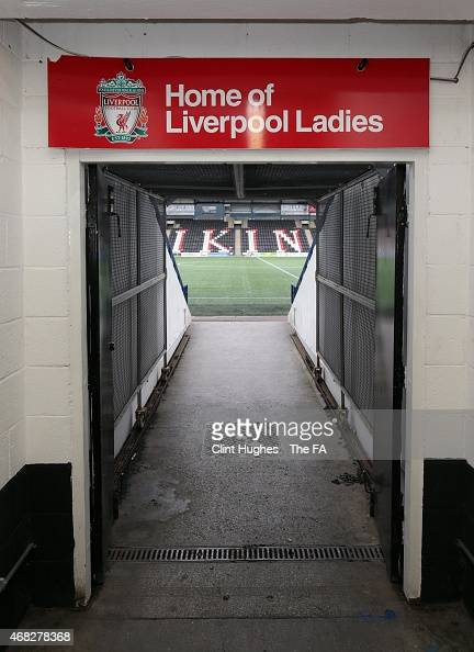 A general view of the entrance to the pitch from the tunnel at the Select Security Stadium during the FA WSL 1 match between Liverpool Ladies FC and...