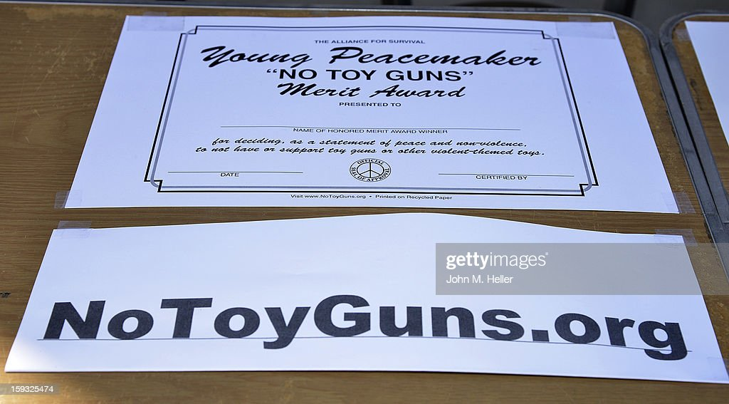 A general view of the environment at The 'No Toy Guns' news conference on the Third Street Promenade on January 11, 2013 in Santa Monica, California.