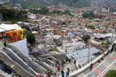 General view of the escalators at Comuna 13 neighborhood in Medellin Antioquia department Colombia on December 26 the day of their inauguration The...