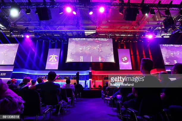 A general view of the ESL stand is seen at the Gamescom 2016 gaming trade fair during the media day on August 17 2016 in Cologne Germany Gamescom is...