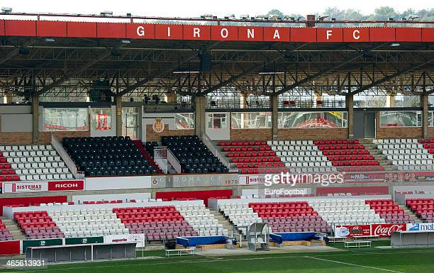 A general view of the Estadia Montilivi stadium before the Spanish Segunda Division match between Girona FC and SD Eibar at the Estadia Montilivi on...