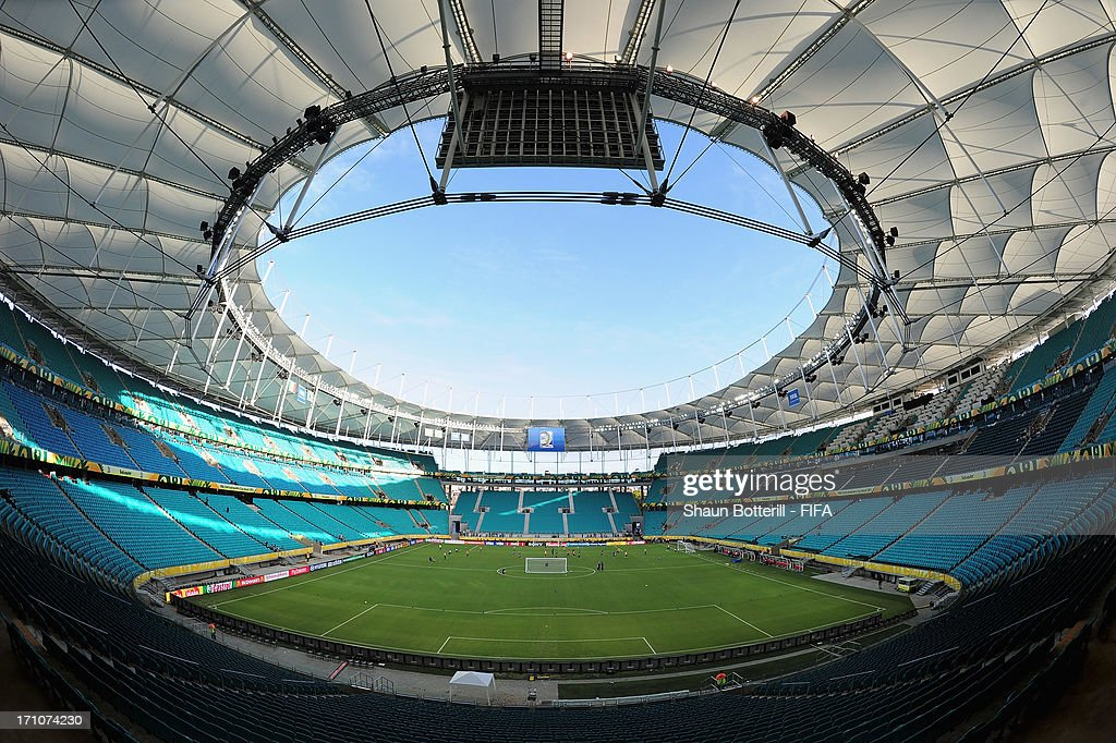 A general view of the Estadio Octavio Mangabeira (Arena Fonte Nova Salvador) on June 21, 2013 in Salvador, Brazil.