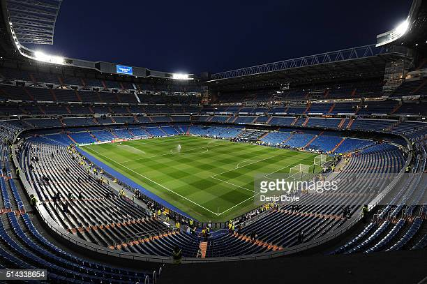 General view of the Estadio Santiago Bernabeu ahead of the UEFA Champions League Round of 16 Second Leg match between Real Madrid CF and AS Roma at...