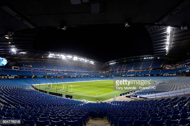 A general view of the Etihad Stadium before the Barclays Premier League match between Manchester City and Everton at the Etihad Stadium on January 13...