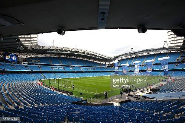 A general view of the Etihad Stadium is seen prior to the Barclays Premier League match between Manchester City and Chelsea at Etihad Stadium on...