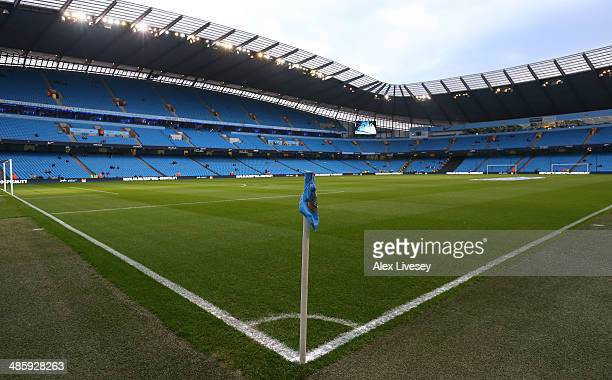 A general view of the Etihad Stadium is seen prior to the Barclays Premier League match between Manchester City and West Bromwich Albion at Etihad...