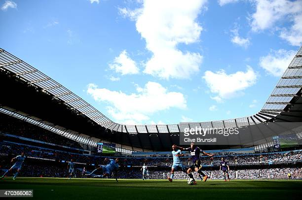 A general view of the Etihad Stadium showing the Barclays Premier League match between Manchester City and West Ham United at Etihad Stadium on April...
