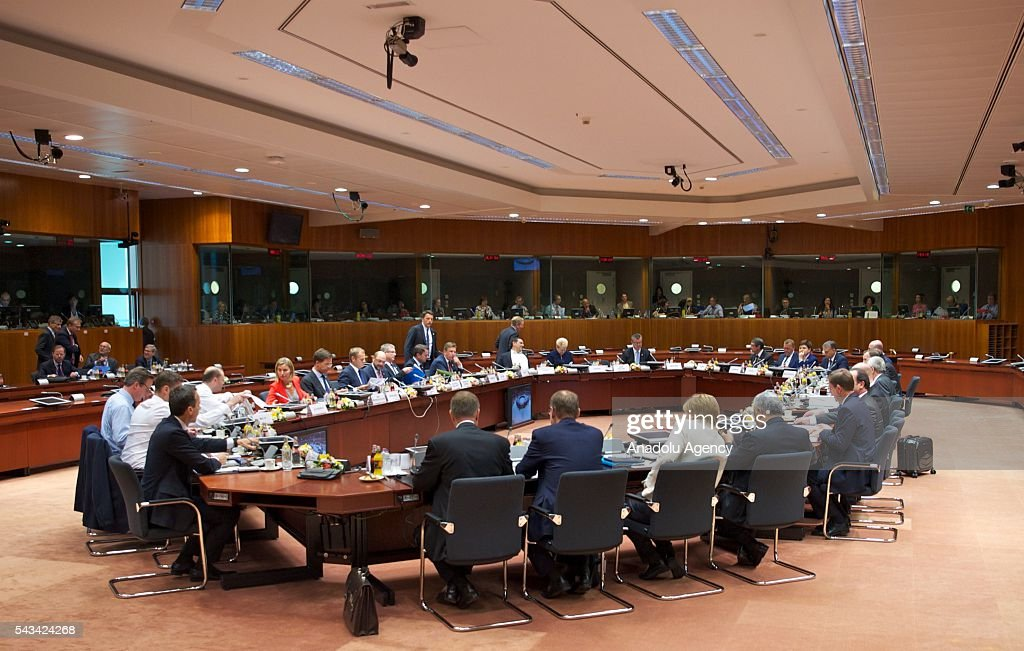 General view of the EU Leaders Summit at the European Union headquarters in Brussels, Belgium on June 28, 2016.