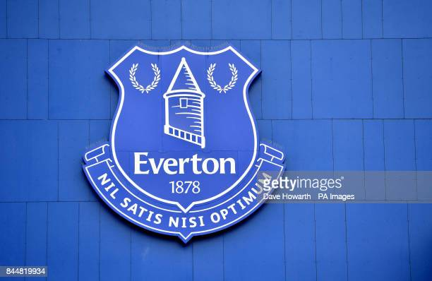 A general view of the Everton club crest before the Premier League match at Goodison Park Liverpool