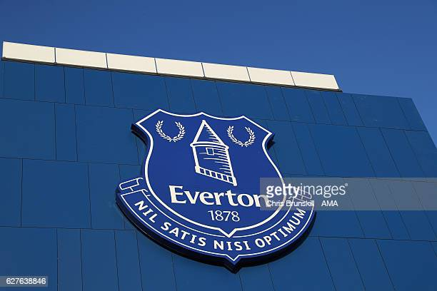 General View of the Everton club crest prior to the Premier League match between Everton and Manchester United at Goodison Park on December 4 2016 in...