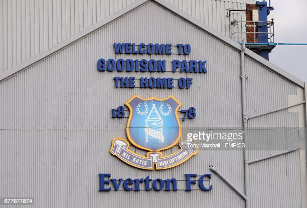 General view of the Everton crest at Goodison Park