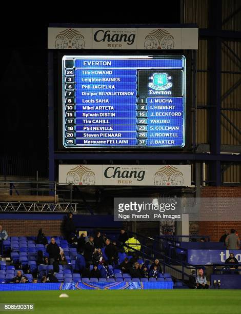 General view of the Everton team on the jumbotron big screen at Goodison Park