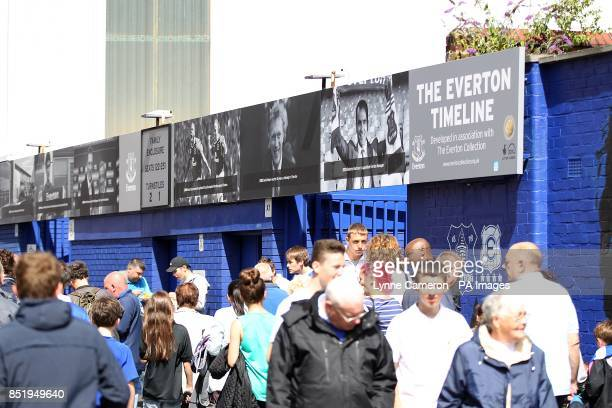 General view of the Everton Timeline outside Goodison Park