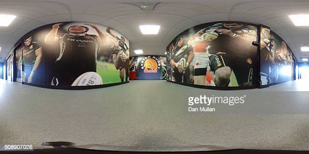 A general view of the Exeter Chiefs tunnel ahead of the Aviva Premiership match between Exeter Chiefs and Saracens at Sandy Park on February 7 2016...