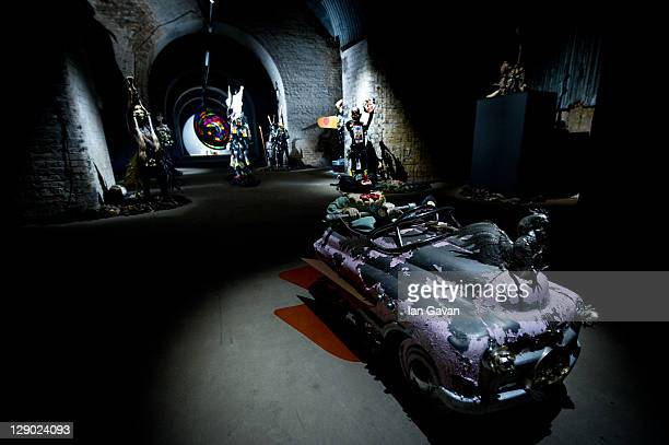 General view of the exhibition space during the launch of Steve Lazarides' Minotaur at the Old Vic Tunnels on October 10 2011 in London England The...
