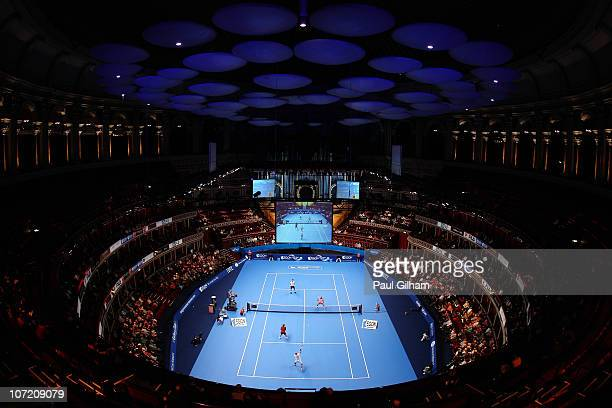A general view of the exhibiton doubles match between Mansour Bahrami of Iran and Peter Fleming of United States against Peter McNamara of Australia...