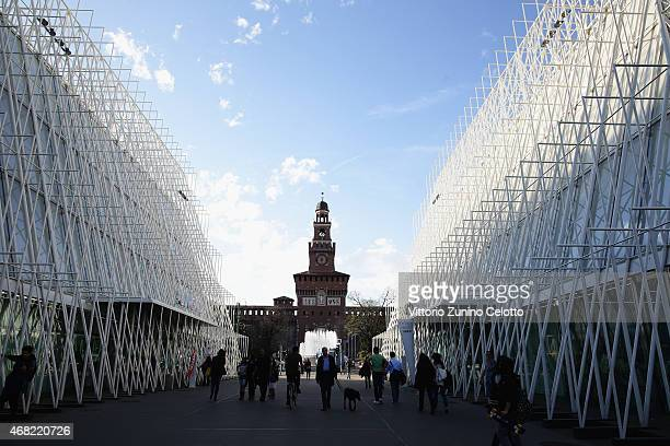 A general view of the Expo Gate and the Sforzesco Castle on March 31 2015 in Milan Italy