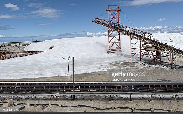 General view of the Exportadora de Sal company plant in Guerrero Negro Baja California Sur state Mexico on March 03 2015 The salt production process...