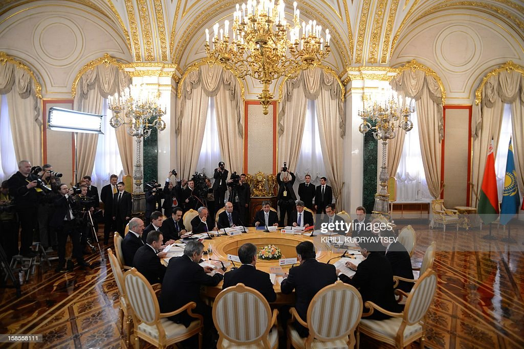 A general view of the ex-Soviet nations leaders meeting in the Kremlin in Moscow, on December 19, 2012. Russia sought today to expand its sway over ex-Soviet nations as it hosted economic integration talks Washington has painted as an attempt by Moscow to 're-Sovietise' the region.