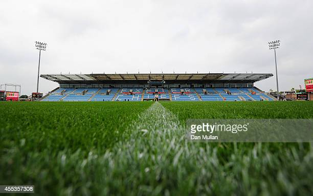 A general view of the extended grandstand and new pitch ahead of the Aviva Premiership match between Exeter Chiefs and Leicester Tigers at Sandy Park...