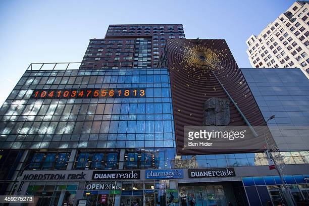 A general view of the exterior facade of Duane Reade with the 'Metronome' sculpture in Union Square on December 24 2013 in New York City