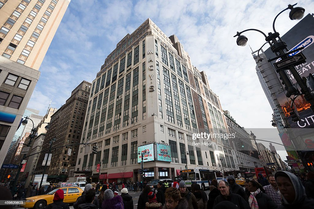 A general view of the exterior facade of Macy's Department Store on December 31, 2013 in New York City.