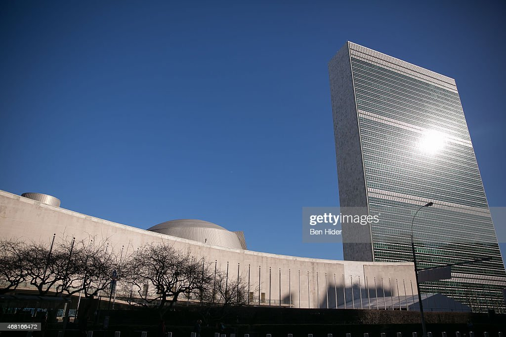 A general view of the exterior facade of the United Nations Headquarters on March 23 2015 in New York City The site of the UN Headquarters has...