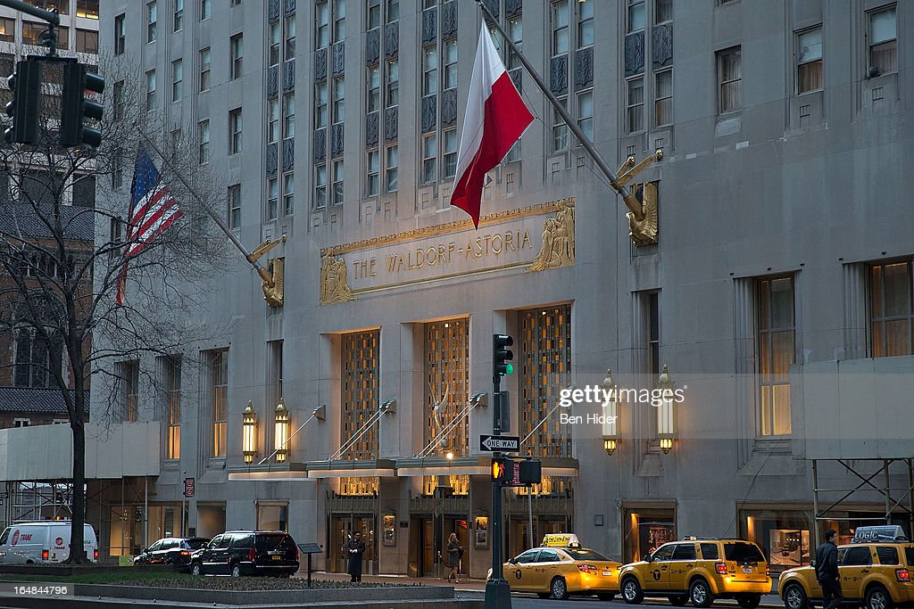 A general view of the exterior facade of the WaldorfAstoria Hotel on March 27 2013 in New York City