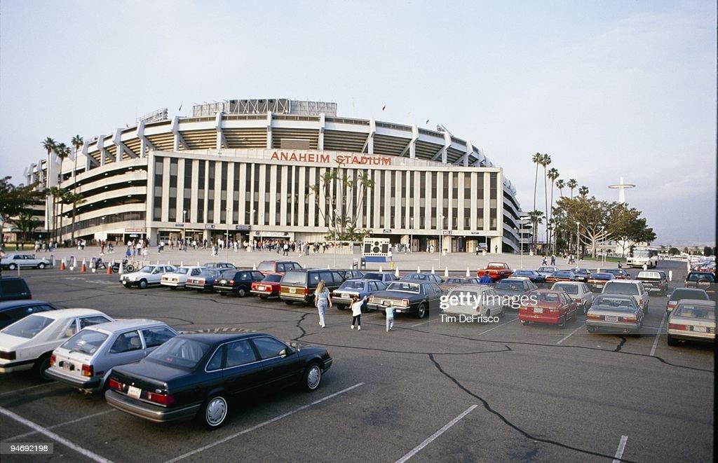 A general view of the exterior of Anaheim Stadium circa 1989 in Anaheim, California.