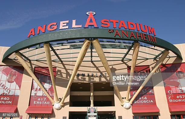 General view of the exterior of Angel Stadium before the Round 2 Pool 2 Game between Team Japan and Team Korea in the World Baseball Classic at Angel...
