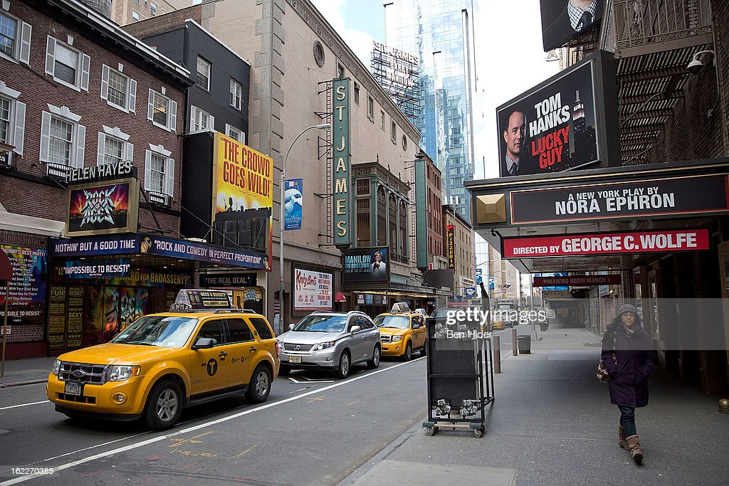 A general view of the exterior of Broadhurst Theatre showing 'Lucky Guy' on February 21, 2013 in New York City.
