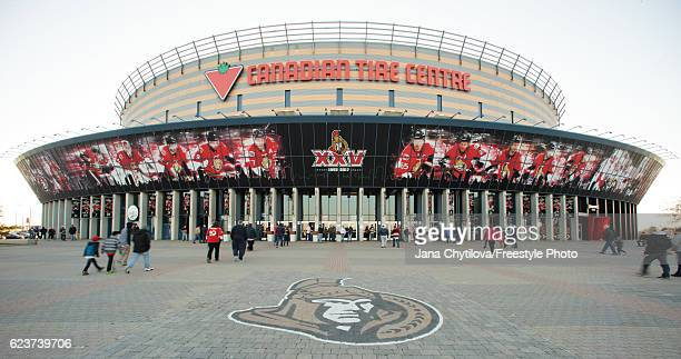 General view of the exterior of Canadian Tire Centre prior to the start of a game between the Ottawa Senators and the Minnesota Wild at Canadian Tire...