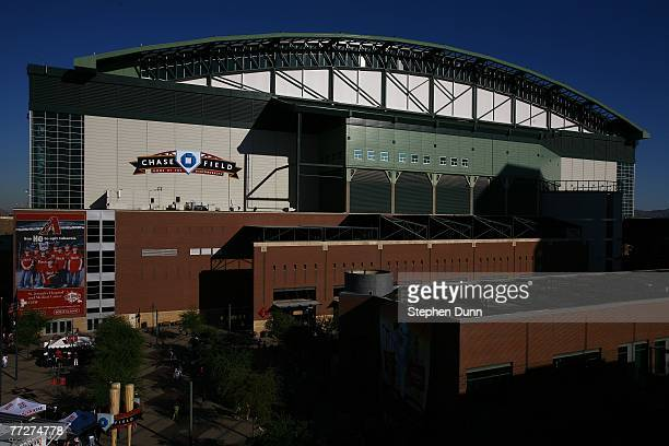 A general view of the exterior of Chase Field prior to Game One of the National League Championship Series between the Colorado Rockies and the...