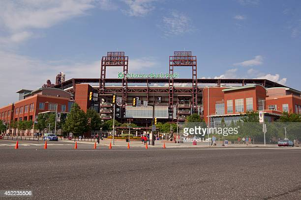 A general view of the exterior of Citizens Bank Park during the game between the Washington Nationals and Philadelphia Phillies on July 12 2014 in...