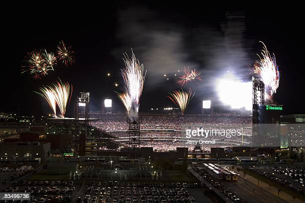 General view of the exterior of Citizens Bank Park with victory celebration fireworks after the conclusion of the resumed game five of the 2008 MLB...