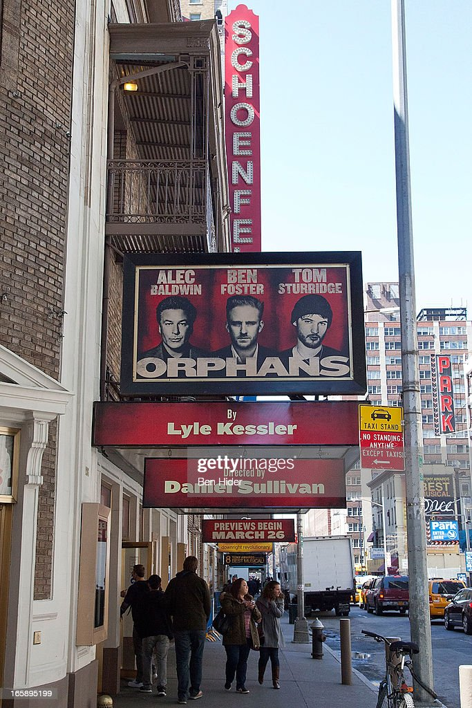 A general view of the exterior of Gerald Schoenfeld Theater showing 'Orphans' on April 5, 2013 in New York City.