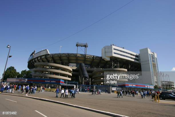 A general view of the exterior of Giants Stadium during the game between the New York Giants and the Washington Redskins on September 19 2004 at...