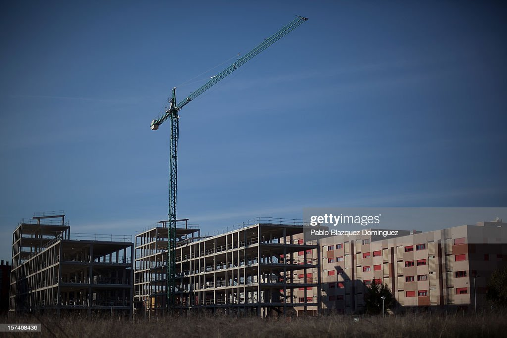 A general view of the exterior of half-constructed buildings in Alcorcon on December 3, 2012 in Madrid, Spain. Spain has formally requested 39.5 billion euros of European funds to bailout a number of its struggling banks.