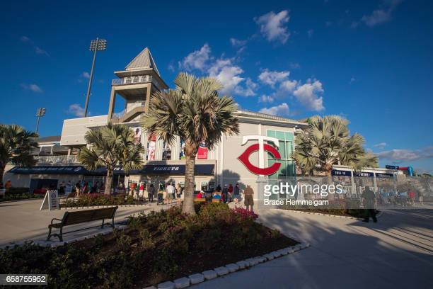 A general view of the exterior of Hammond Stadium prior to a game between the Minnesota Twins and Tampa Bay Rays on February 24 2017 at the...