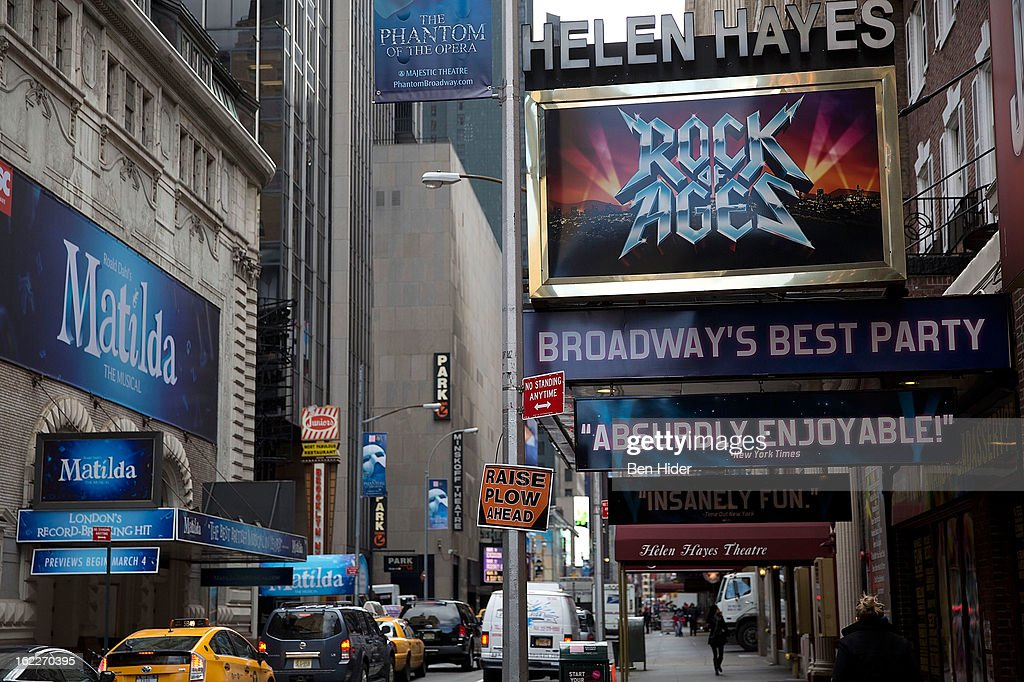 A general view of the exterior of Helen Hayes Theatre showing 'Rock of Ages' on February 21, 2013 in New York City.
