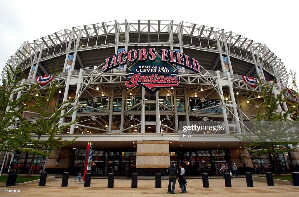 General view of the exterior of Jacobs Field before Game Four of the American League Championship Series between the Boston Red Sox and the Cleveland...