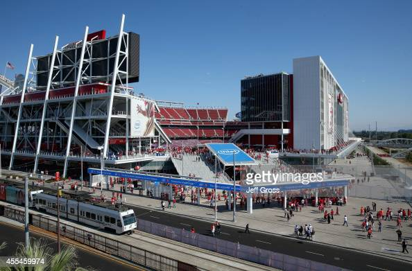 A general view of the exterior of Levi's Stadium is seen prior to the start of the game between the San Francisco 49ers and the Chicago Bears on...