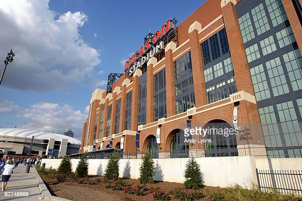 A general view of the exterior of Lucas Oil Stadium prior to the NFL game between the Chicago Bears and the Indianapolis Colts at Lucas Oil Stadium...