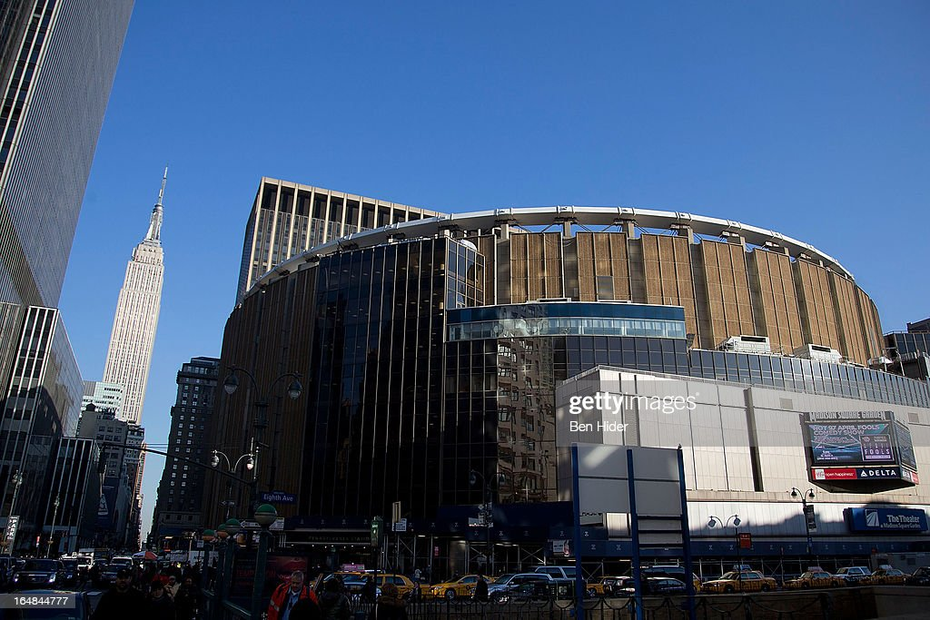 A general view of the exterior of Madison Square Garden in front of the Empire State Building on March 19 2013 in New York City
